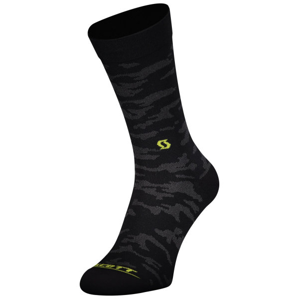 Scott Trail Camo Crew Sock black/sulphur yellow
